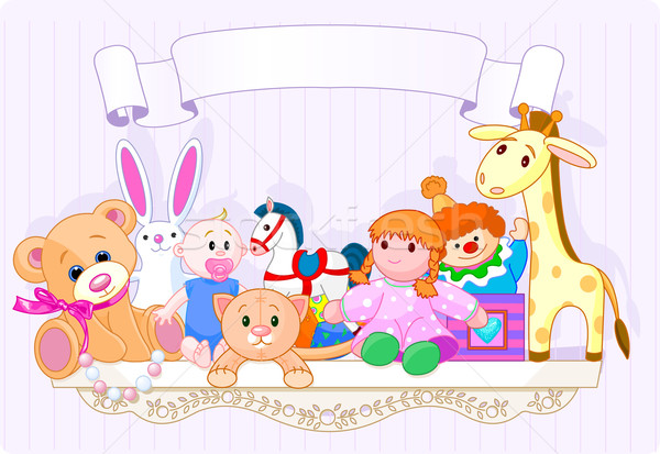 Rose jouet plateau plein jouets pour bébés espace Photo stock © Dazdraperma