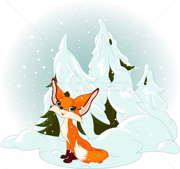 Stock photo: Cute fox against a snowy forest