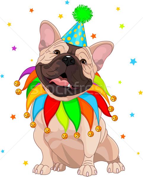 Frans verjaardag bulldog vieren leuk hoed Stockfoto © Dazdraperma