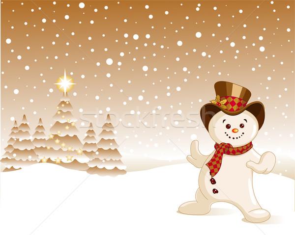 Pupazzo di neve Natale cadere neve Foto d'archivio © Dazdraperma