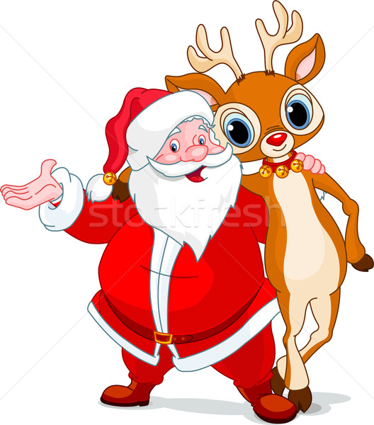 Santa and his reindeer Rudolf Stock photo © Dazdraperma