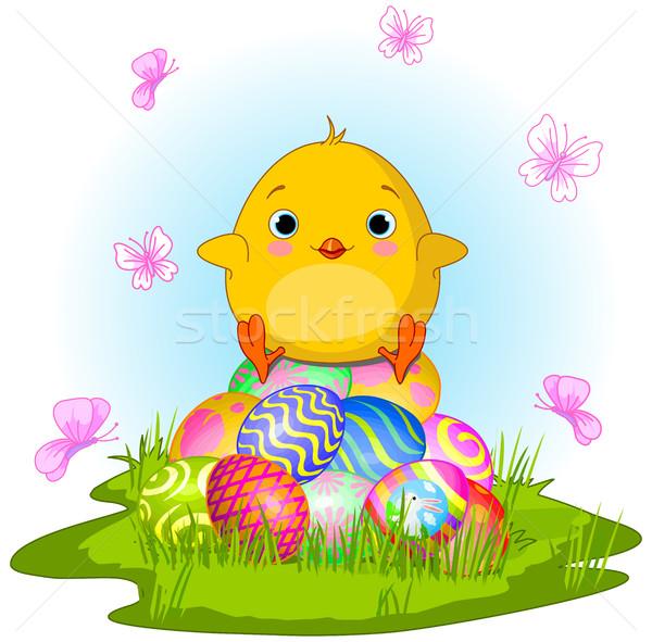 Citromsárga húsvét csirke illusztráció aranyos tavasz Stock fotó © Dazdraperma