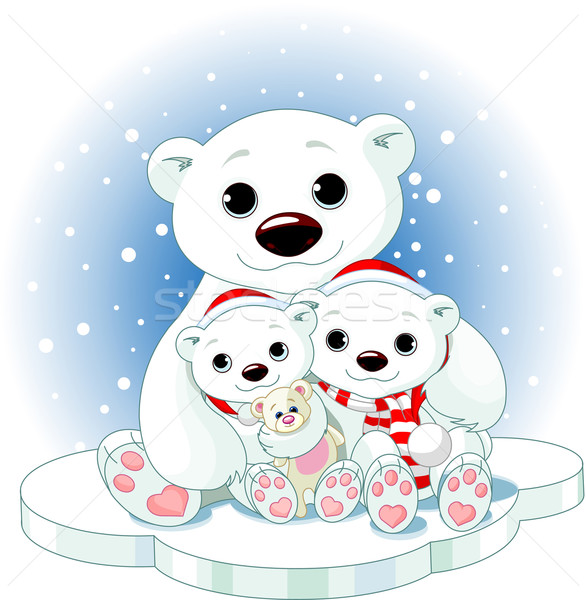 Christmas Polar bear family Stock photo © Dazdraperma