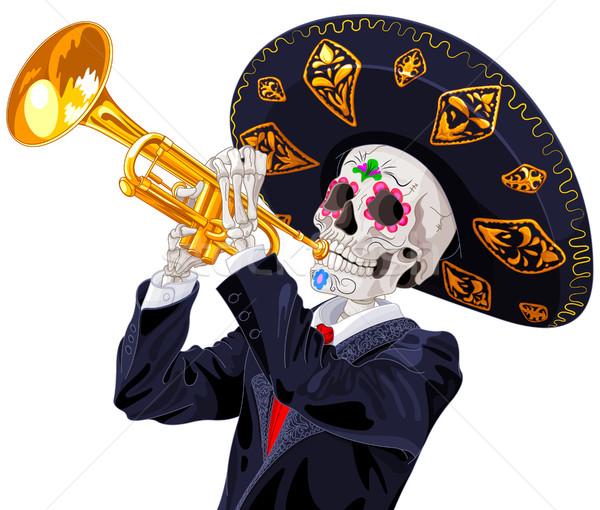 Gün ölü trompet oyuncu müzik takım elbise Stok fotoğraf © Dazdraperma