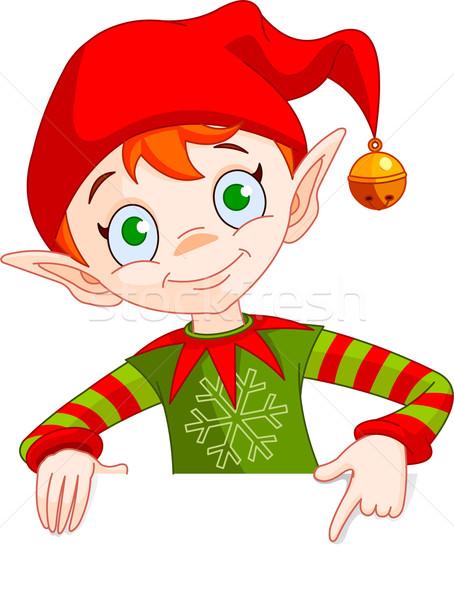 Stock fotó: Karácsony · manó · hely · kártya · clipart · illusztráció