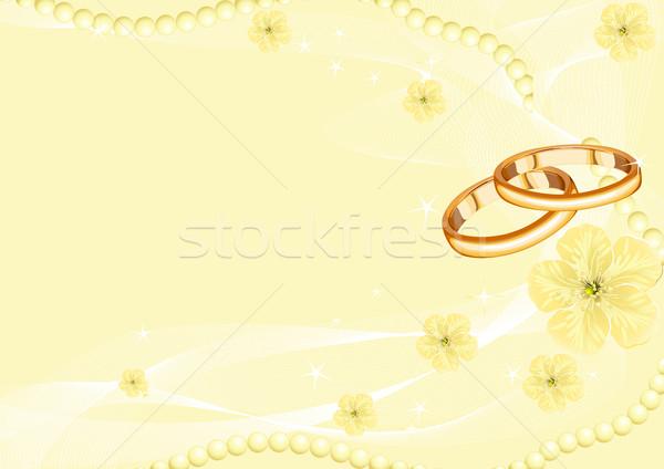 обручальными кольцами желтый цветок свадьба любви лист Сток-фото © Dazdraperma