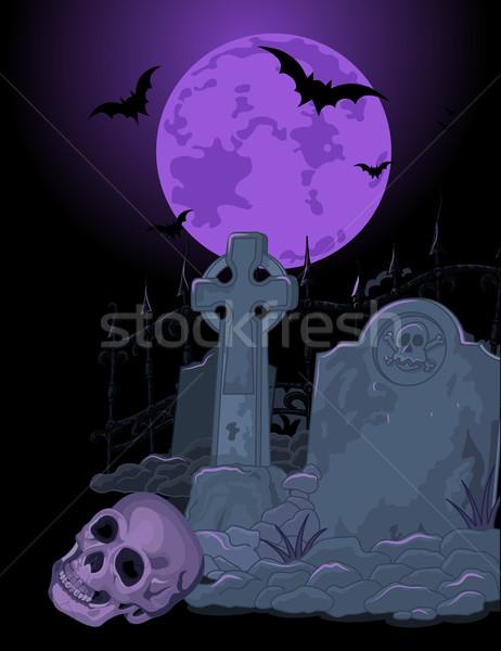 Хэллоуин могилы иллюстрация Scary искусства смерти Сток-фото © Dazdraperma