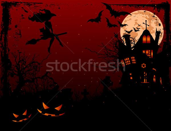 Halloween illusztráció kisértetjárta ház ijesztő sötét Stock fotó © Dazdraperma