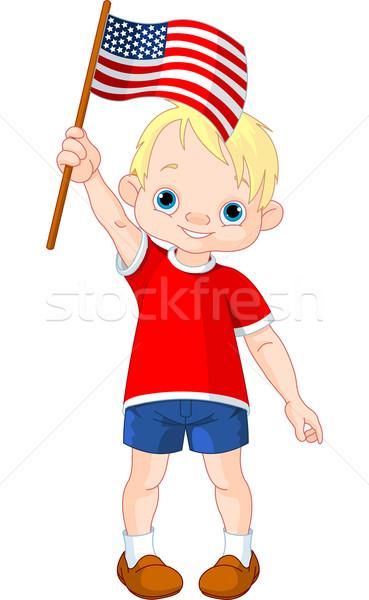 Negyedik fiú illusztráció tart amerikai zászló baba Stock fotó © Dazdraperma