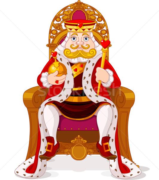 Rey trono sesión hombre diversión dibujo Foto stock © Dazdraperma