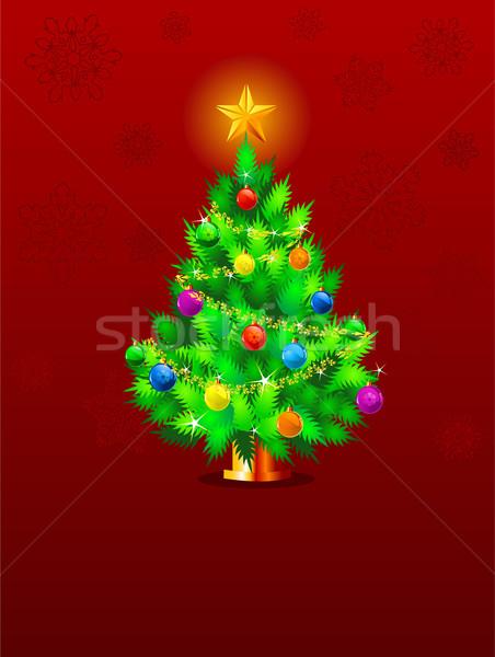 Rood christmas kerstboom sneeuwvlokken abstract sneeuw Stockfoto © Dazdraperma