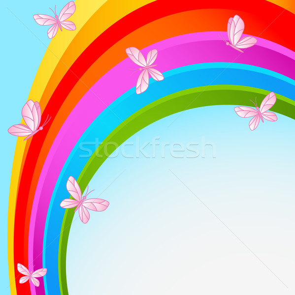 Arco-íris céu borboleta voador borboletas fundo Foto stock © Dazdraperma