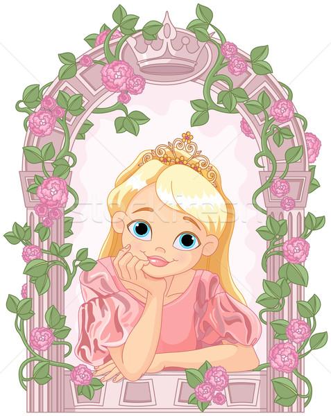 Piękna princess ilustracja patrząc okno kobiet Zdjęcia stock © Dazdraperma
