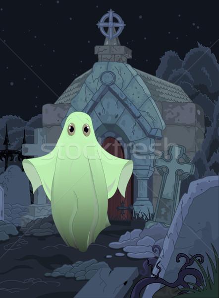 Fantôme halloween illustration cute cimetière fond Photo stock © Dazdraperma