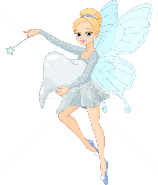 Cute Tooth Fairy flying with Tooth Stock photo © Dazdraperma
