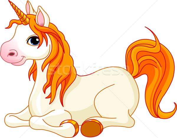Beautiful unicorn with red mane and tail Stock photo © Dazdraperma