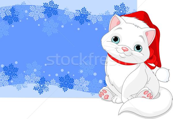 Noel kedi kar fırtınası kar arka plan uzay Stok fotoğraf © Dazdraperma