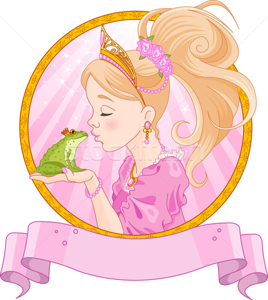 Foto stock: Princesa · sapo · conto · de · fadas · beijando · livro · coroa