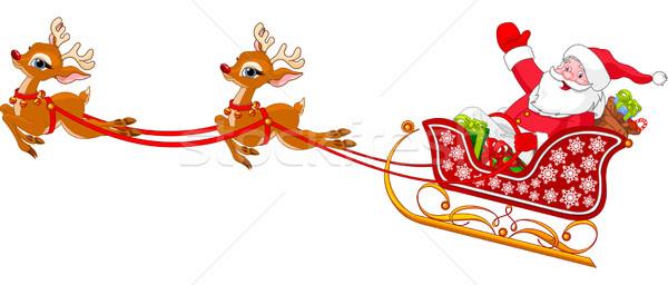 Дед Мороз Cartoon иллюстрация сани зима Сток-фото © Dazdraperma