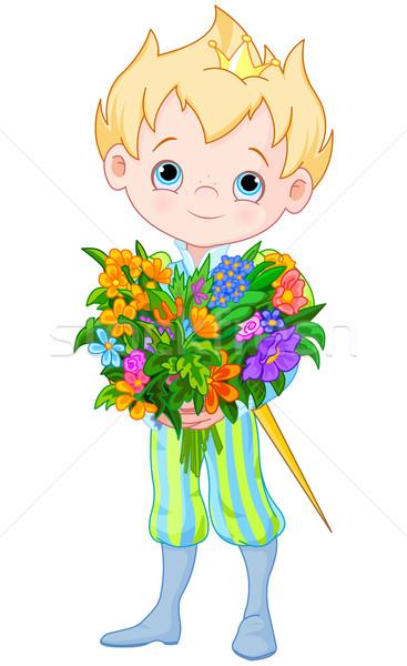 Cute weinig prins bloemen illustratie boeket Stockfoto © Dazdraperma