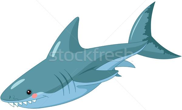 Cápa illusztráció aranyos boldog természet óceán Stock fotó © Dazdraperma