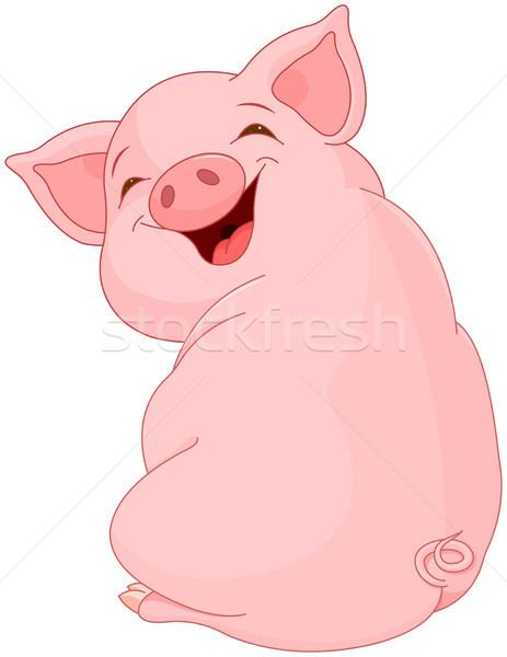 Mooie varken illustratie cute gelukkig kunst Stockfoto © Dazdraperma
