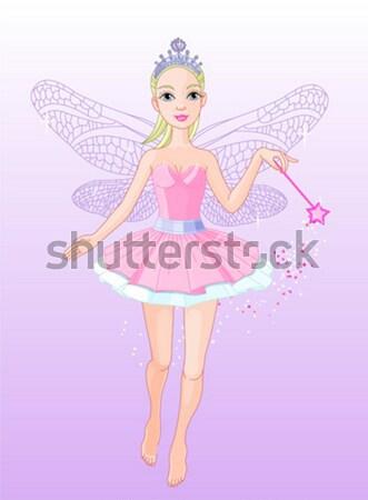 Belo fadas ilustração rosa borboleta feminino Foto stock © Dazdraperma