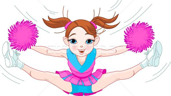 Cute cheerleading girl jumping in air Stock photo © Dazdraperma