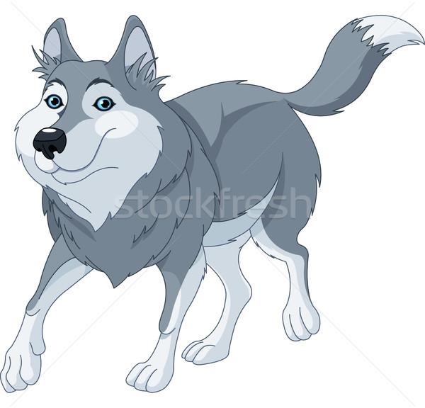 Сток-фото: Cartoon · волка · иллюстрация · Cute · работает · природы