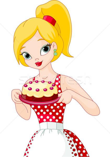 Jonge vrouw cake mooie heerlijk Stockfoto © Dazdraperma