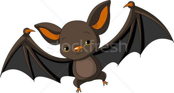 Halloween denevér repülés illusztráció aranyos rajz Stock fotó © Dazdraperma