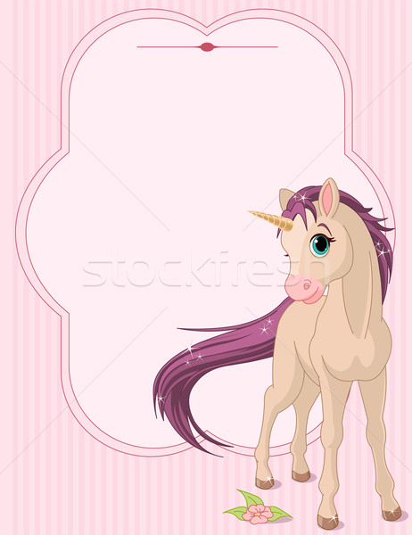 Baby unicorn place card Stock photo © Dazdraperma
