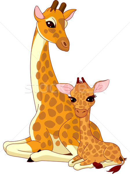 Mother and baby giraffe Stock photo © Dazdraperma