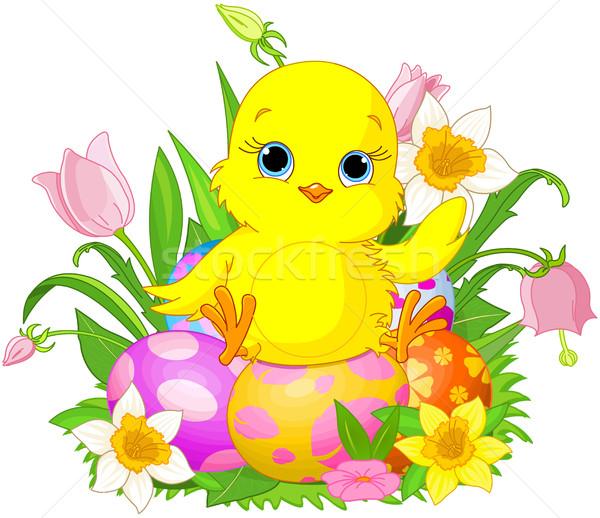 Húsvét csirke ül színes húsvéti tojások virág Stock fotó © Dazdraperma