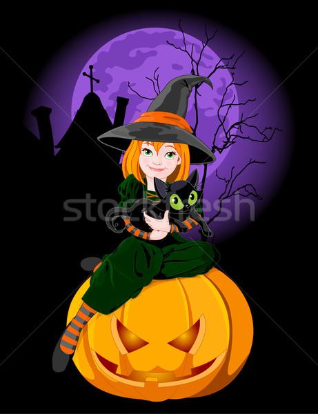 Halloween kat pompoen meisje vrouwen Stockfoto © Dazdraperma