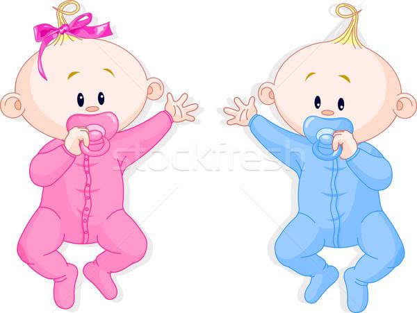 близнецы два ребенка лежать мальчика Сток-фото © Dazdraperma