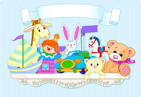 Bleu jouet plateau plein jouets pour bébés espace Photo stock © Dazdraperma