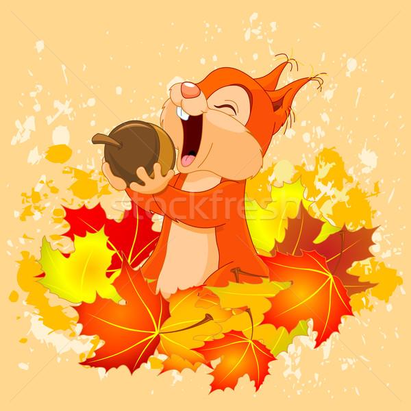 белку гайка иллюстрация Cute осень природы Сток-фото © Dazdraperma