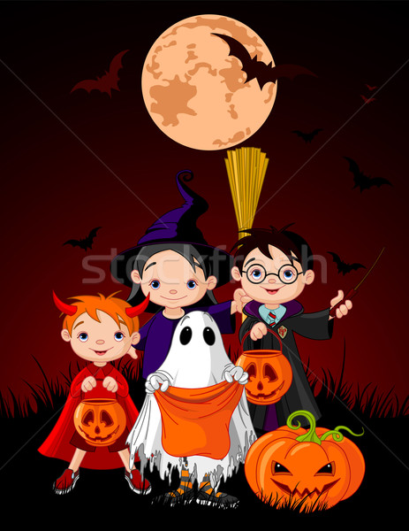 Halloween background with   trick or treating children  Stock photo © Dazdraperma