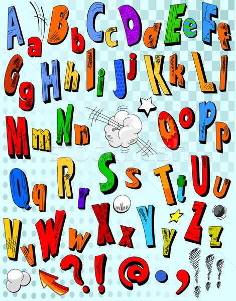 Képregény ábécé levelek művészet levél csillag Stock fotó © Dazdraperma