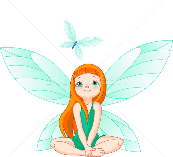 Fairy observes for flying butterfly Stock photo © Dazdraperma