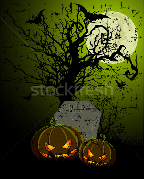 Tombstone and Pumpkins Stock photo © Dazdraperma