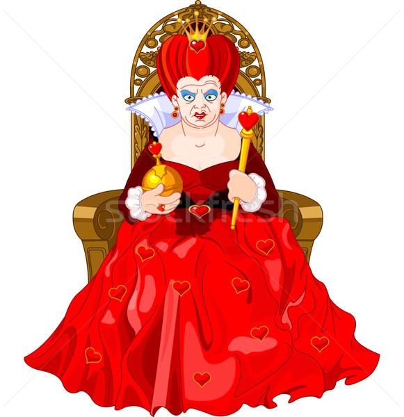 Boos koningin troon harten kroon vrouwelijke Stockfoto © Dazdraperma