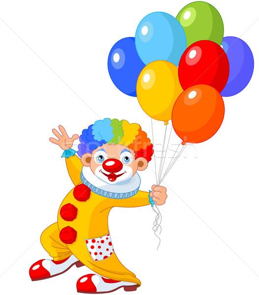 Stockfoto: Grappig · clown · ballonnen · partij · leuk