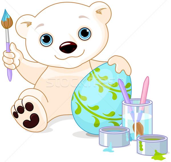 Pasqua orso polare illustrazione easter egg vetro colore Foto d'archivio © Dazdraperma