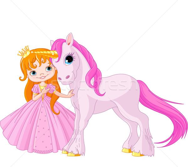 Aranyos hercegnő gyönyörű gyermek ló rajz Stock fotó © Dazdraperma