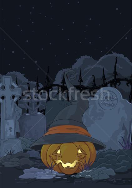 кладбище тыква иллюстрация Готский искусства Сток-фото © Dazdraperma