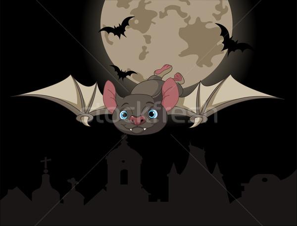 Bat vlucht illustratie cute cartoon halloween Stockfoto © Dazdraperma