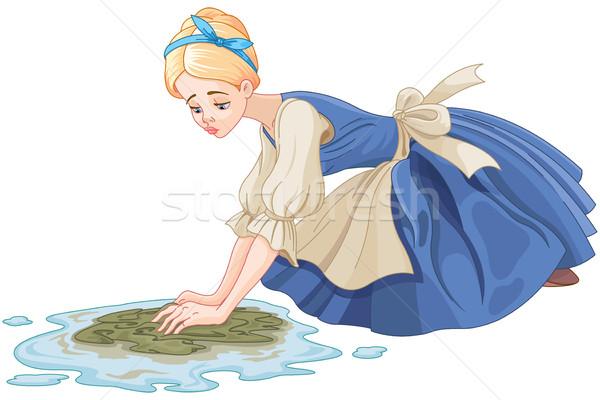 Sad Cinderella Cleaning the Floor Stock photo © Dazdraperma