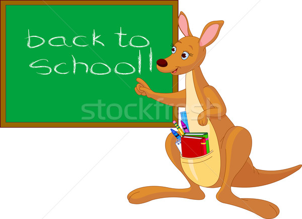 Cartoon Kangaroo near chalkboard Stock photo © Dazdraperma